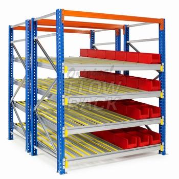 Flow shelves for pallet racks double depth