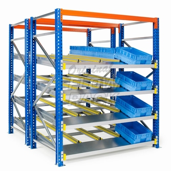 Flow shelves KLT-version for pallet racks double depth