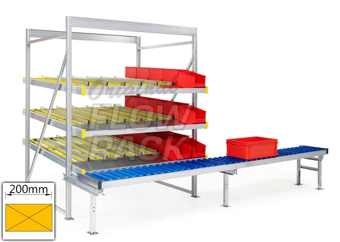 Flow rack with roller conveyor and 3 levels