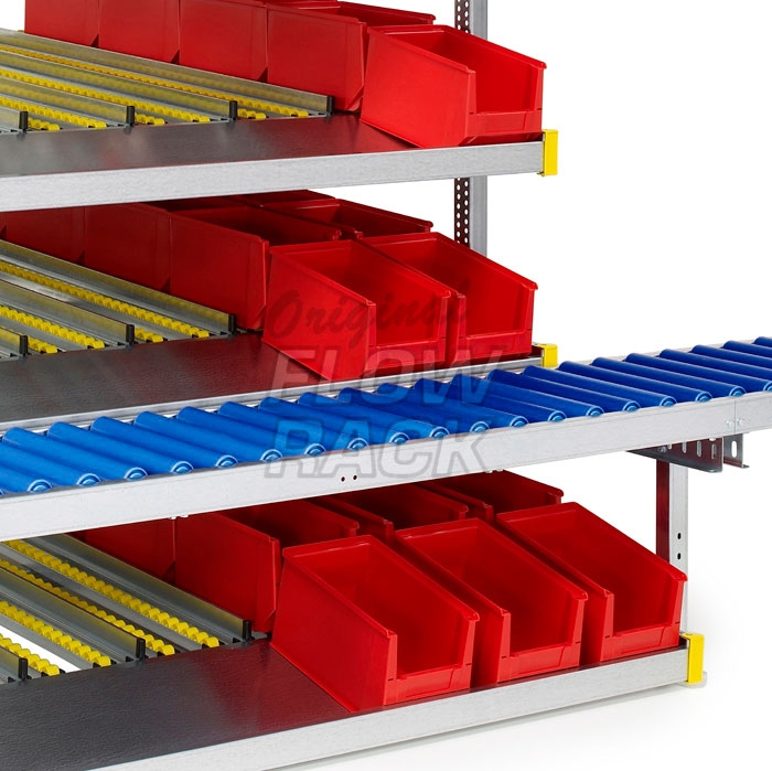 Flow rack with roller conveyor and 4 levels