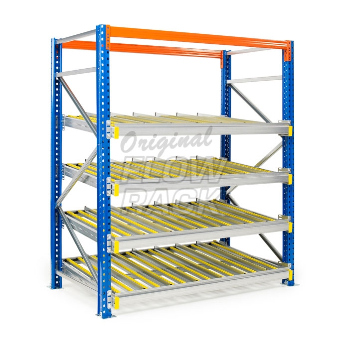 Flow shelves for pallet racks single depth