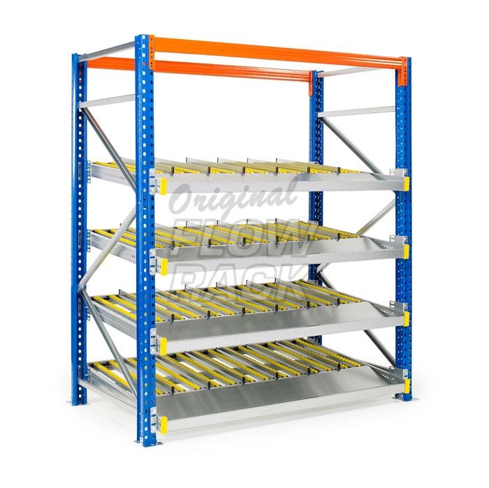 Flow shelves for pallet racks single depth