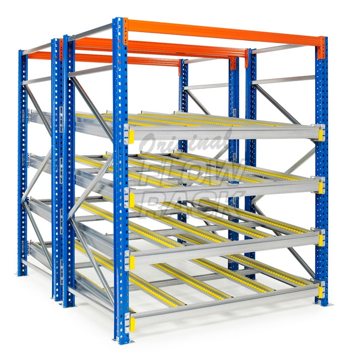 Flow shelves KLT-version for pallet racks double depth