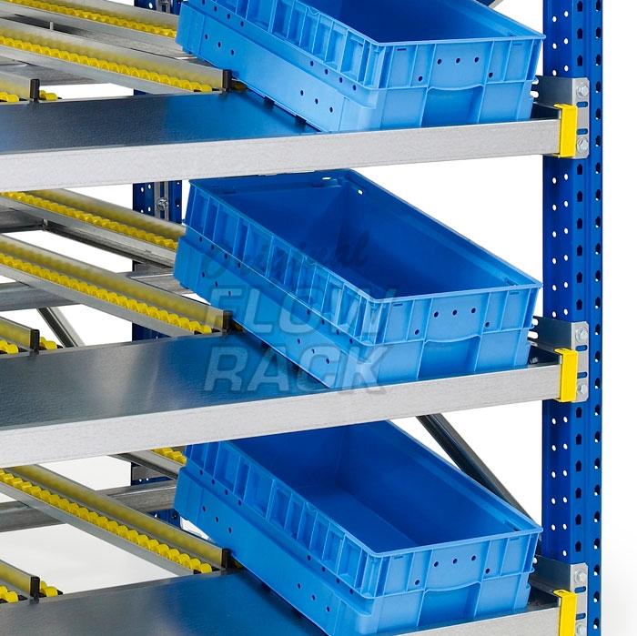 Flow shelves KLT-version for pallet racks single depth